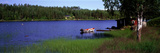 Lake with Cabin and Boat, Near Falun, Dalarna, Sweden Photographic Print