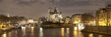 Notre Dame and Eiffel Tower at Dusk, Paris, Ile-De-France, France Photographic Print