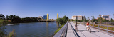Bicyclists Along the Sacramento River with Tower Bridge in Background, Sacramento Photographic Print