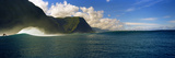 Rolling Waves with Mountains in the Background, Molokai, Hawaii Photographic Print