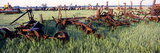 Old Farm Equipment in a Field, Kansas, USA Photographic Print