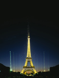 Tower Lit Up at Night, Eiffel Tower, Paris, France Photographic Print