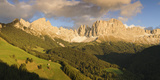 Alpenglow on the Mountains, Rosengarten, Dolomites, Trentino, Alto Adige, Italy Photographic Print