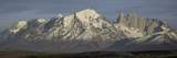 Snowcapped Mountain Range, Paine Massif, Torres Del Paine National Park, Magallanes Region Photographic Print
