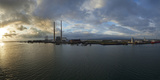 Silhouette of Chimneys of the Poolbeg Generating Station at Dawn, River Liffey, Dublin Bay Photographic Print
