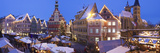 Christmas Market with the Old Town Hall and the St. Dionysius Church at Dusk Lámina fotográfica