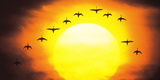Silhouetted Birds in Sunset Reproduction photographique