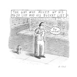 "A man stares at a piece of paper and thinks ""Buy cat food?"" — ""The Guy Who… - New Yorker Cartoon Premium Giclee Print by Roz Chast"