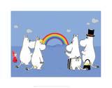 The Moomins Enjoying the Rainbow Art par Tove Jansson