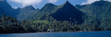 Mountains and Buildings at the Coast, Tahiti, Society Islands, French Polynesia Photographic Print