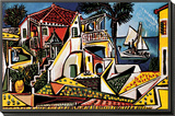 Paisagem mediterrânea Montagem de impressão emoldurada por Pablo Picasso