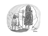 A prehistoric Grim Reaper wearing animal print stands before a caveman. - New Yorker Cartoon Premium Giclee Print by Benjamin Schwartz