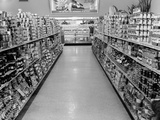 1950s Grocery Store Aisle with Canned Goods on Shelves to Either Side Photographic Print