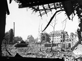 American Tank Amid Rubble in Street of German City Photographic Print