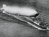 Graf Zeppelin Flying Above the S.S. New York Photographic Print