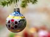 Close-Up of a Decorated Hanging Bauble Against Blurred Background Photographic Print