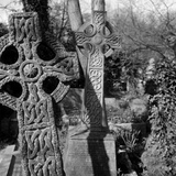 Highgate Cemetery, Hampstead, London,  Two Celtic Cross Gravestones in the West Cemetery Photographic Print by John Gay