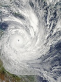 Satellite Image of Tropical Cyclone Yasi Approaching the Queensland Coast Photographic Print
