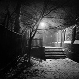 Hampstead, London, a Set of Steps in the Snow in a Wide Alleyway at Night Photographic Print by John Gay
