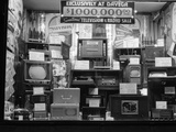 1940s Window of Store Selling Radios and Televisions Advertising a Million Dollar Sale Photographic Print