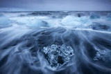 Icebergs in Surf by Jokulsarlon, Iceland Photographic Print