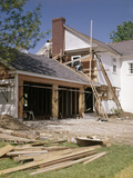 1960s-1970s Workers Building Two Car Garage Addition onto Suburban Home Photographic Print