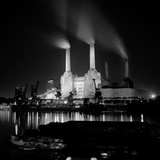 Battersea Power Station, London, View from the North Bank of the River Thames at Night Photographic Print by Eric De Mere