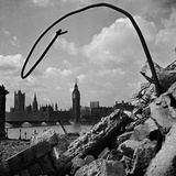 Southwark, London, Bomb Damage and Demolition Debris Beside County Hall on London's South Bank Photographic Print by John Gay