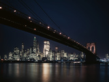 1950s-1960s Night View of Lower Manhattan Island Skyline Beneath the Brooklyn Bridge Photographic Print
