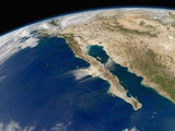 Satellite View of Baja California and the Pacific Coast of Mexico Photographic Print