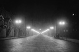 Lights Along a Foggy Street Photographic Print