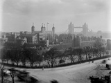 Tower of London, General View of the Tower with Tower Bridge in the Background Photographic Print by H. Bedford Lemere