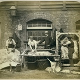 Photograph of Leather Workers Preparing Skins at Bevingtons and Sons Photographic Print