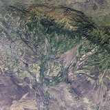 Satellite View of Agricultural Fields in Kazakhstan Photographic Print