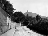 Glastonbury, Somerset, Distant View of the Tower of St Michael's Church on Glastonbury Tor Photographic Print