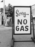 1973 Sorry No Gas Sign Beside Gas Pumps at Service Station Due to Opec Oil Crisis Photographic Print
