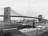 Brooklyn Bridge with Boats in Water Photographic Print