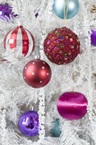 Close-Up of Colorful Christmas Baubles with Decorations Photographic Print by Kajsa Kax Wåghals