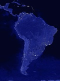 Night Time Satellite View of South America Photographic Print