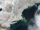 New England under Snow, with a Sediment Plume Off Cape Cod Photographic Print