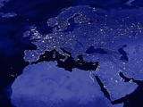 Night Time Satellite View of Europe Photographic Print