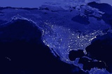 Night Time Satellite View of the United States and North America Photographic Print