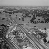 M1 Motorway. Aerial View of the Motorway and the Service Station at Newport Pagnell Photographic Print