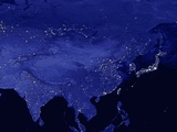 Night Time Satellite View of China and Siberia Photographic Print