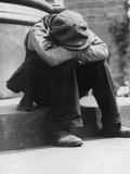 Man Sitting on Curb Photographic Print