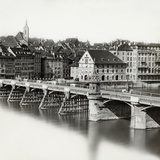 Mittlere Brucke over Rhine River in Basel Photographic Print