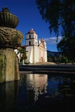 Fountain Outside Santa Barbara Mission Church Photographic Print