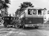 Shot of Bus and Automobile in Collision Photographic Print