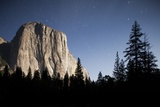 Night View of El Capitan, Illuminated by a Full Moon Photographic Print