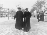 Two Priests Walking in Barcelona Photographic Print